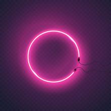 Circle Neon Lamp Wall Sign Iso...