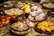 Christmas Eve, Night Before The Christmas Table,traditional Christmas Table In Ukraine, On Wooden Table