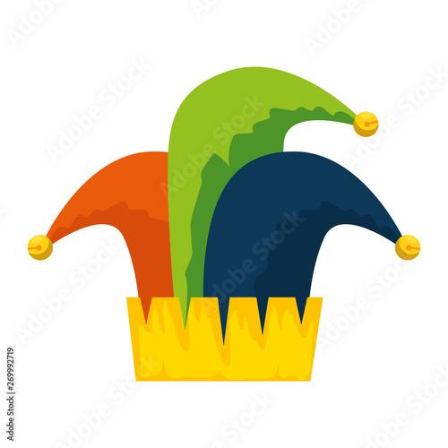 jester hat carnival icon vector illustration Fotobehang