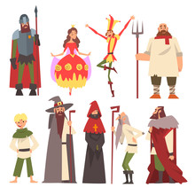 European Medieval Characters Set, Knight, Wizard, King, Princess, Peasant, Jester, People In Historical Costumes Vector Illustration