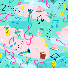Seamless Pattern With Musical ...