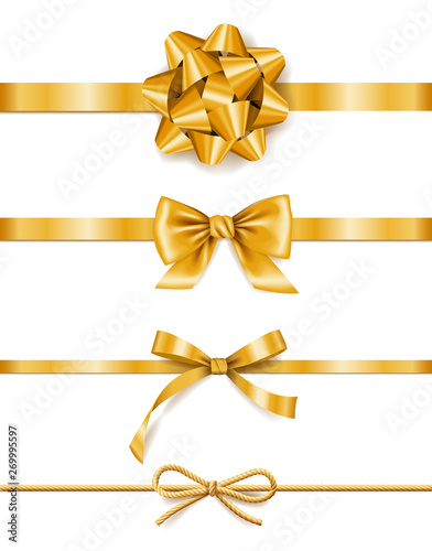 Obraz Set of golden ribbons with bows, decoration for gift boxes, design element - fototapety do salonu