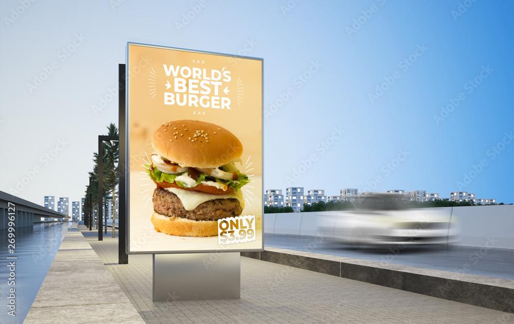 Fototapety, obrazy: burger advertising billboard on highway mockup