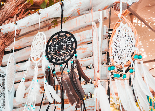 accessories and handmade dream catcher souvenirs at the hippie de las Dalias market on the island of Ibiza, in summer Wallpaper Mural
