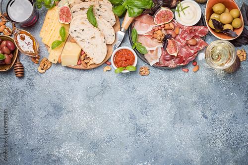 Fotografia Italian antipasti wine snacks set