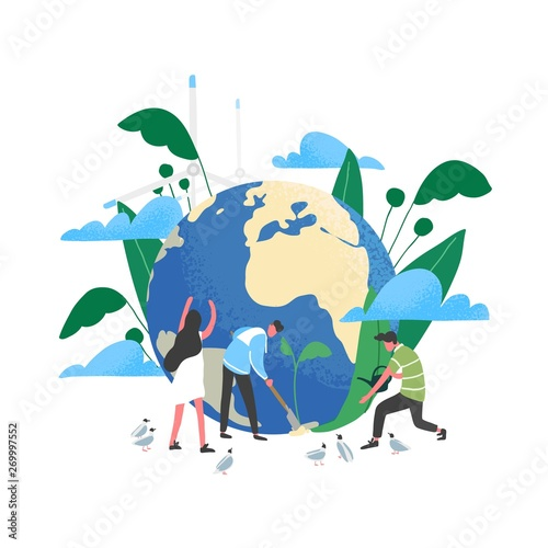 Obraz Group of people or ecologists taking care of Earth and saving planet. Environmental protection, use of eco friendly or sustainable technology, green renewable energy. Flat vector illustration. - fototapety do salonu