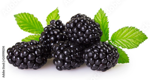 Photo Fresh blackberry on white background