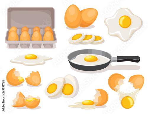 Fototapeta Eggs set, boiled and fried in skillet, in carton package, broken shell obraz