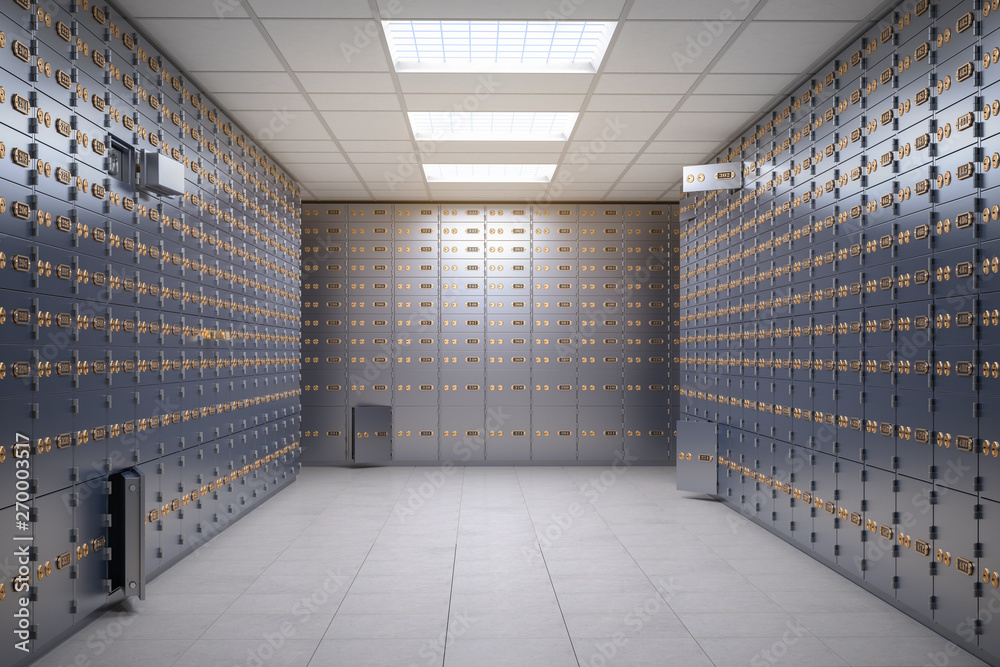 Fototapety, obrazy: Safe deposit boxes room inside of a bank vault.