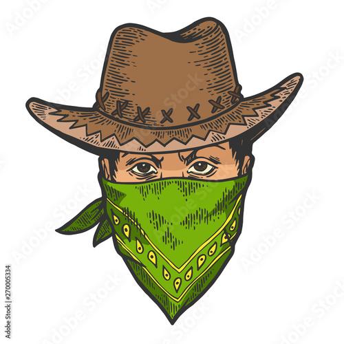 Canvas Print Cowboy head in bandit gangster mask bandana color sketch line art engraving vector illustration