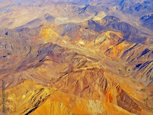 Photo  Aerial view of the Andes mountain range with colorful mountains