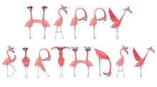 Hand Drawn Watercolor Flamingo...
