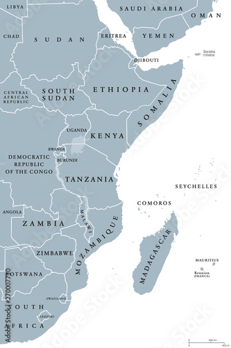 East Africa region, political map. Area with borders. Easterly region of the African continent, also called Eastern Africa. Gray illustration on white background. Vector. Wall mural