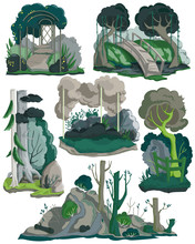 Halloween Landscapes Set. Creepy Garden, Forest And Meadow Scenery With Trees, Plants, Bushes, Flowers. Isolated Elements On White Background. Colorful Vector Illustration