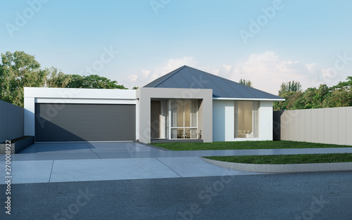 View Of Modern House In Australian Style On Blue Sky Background Contemporary Residence With Metal Sheet Roof Design Housing 3d Rendering Buy This Stock Illustration And Explore Similar Illustrations At Adobe Stock