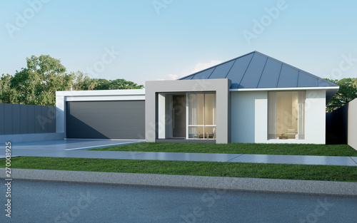 View Of Modern House In Australian Style On Blue Sky Background Contemporary Residence With Metal Sheet Roof Design Housing 3d Rendering Buy This Stock Photo And Explore Similar Images At Adobe Stock
