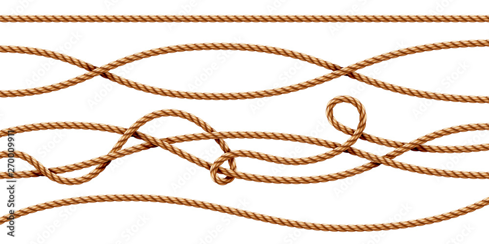 Fototapety, obrazy: Set of isolated curvy 3d ropes. Straight and tied up sailor strings. Realistic marine cord or retro, vintage navy thread. Twisted hemp or jute nautical line with knot, intertwined loop. Whipcord