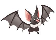 Cartoon Bat. Cute Vampire Bat, Flying Mammal. Flat Vector Illustration Isolated On White Background. Cartoon Character Design. Bat Flapping Wing, Waving Hand