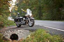 Black Shiny Powerful Motorcycl...