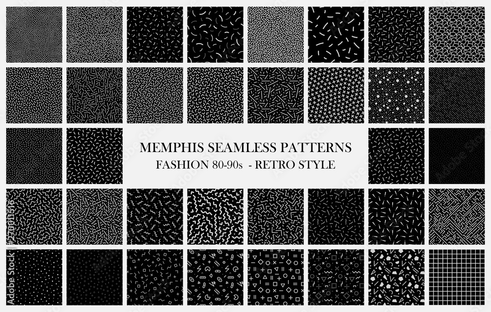Fototapety, obrazy: Big black vector collection of memphis seamless patterns. Fashion design 80-90s. Black and white trendy textures.