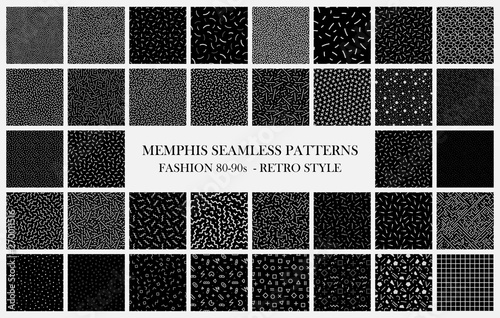 Türaufkleber Künstlich Big black vector collection of memphis seamless patterns. Fashion design 80-90s. Black and white trendy textures.