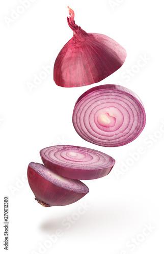 Fototapeta onion chopped on white background obraz