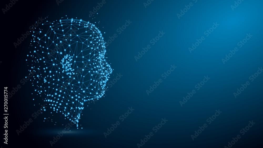 Fototapeta Human head with network plexus structure
