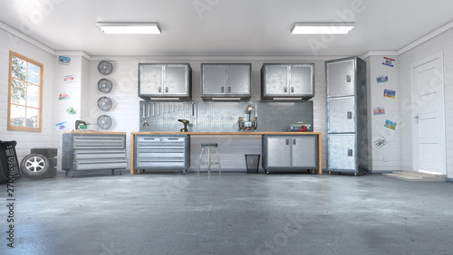 Photo Modern garage interior. 3d illustration