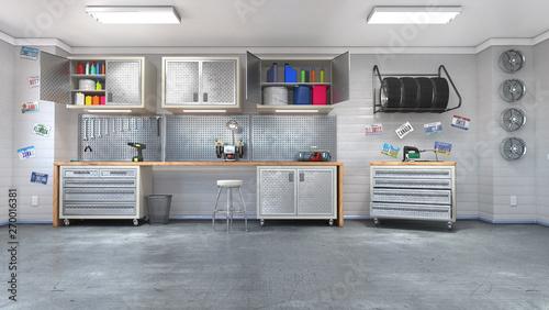 Photo Modern garage interior. 3d illustration