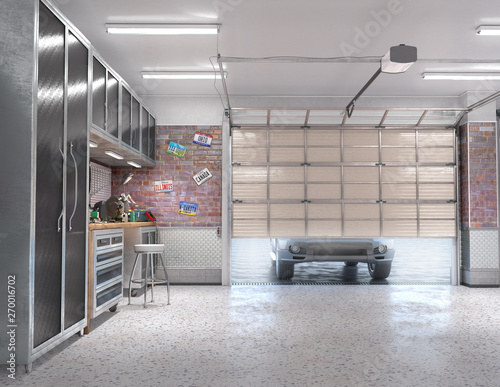 Garage with rolling gate interior. 3d illustration Wall mural