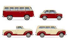Retro Cars Vector Mockup On Wh...
