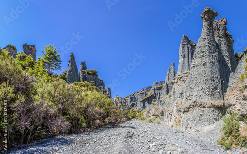 Photo  looking up a valley in the putangirua pinnacles