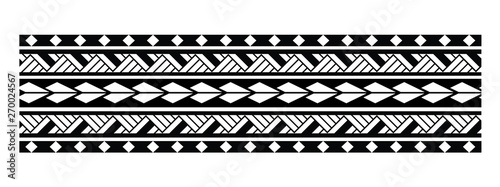 Türaufkleber Künstlich Tattoo tribal maori pattern bracelet, polynesian ornamental border design seamless vector