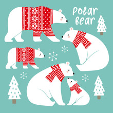Hand Drawn Cute Vector Polar Bears In Winter Clothes. Perfect For Tee Shirt Logo, Greeting Card, Poster, Invitation Or Print Design.