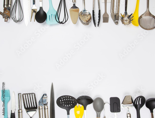 Cuadros en Lienzo different kitchenware on a gray background top view