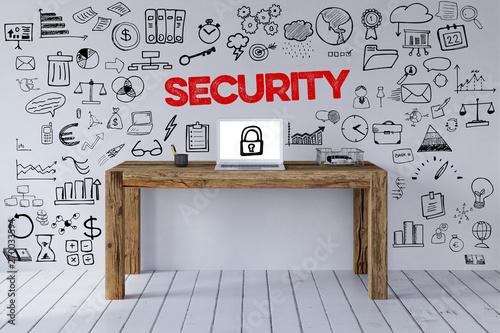 Photo sur Toile Les Textures Security Slogan am Arbeitsplatz als Sicherheit Konzept