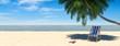 canvas print picture - Urlaub Strand Szene mit Liege unter Palme und Meer