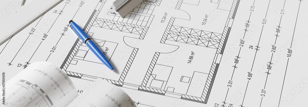 Fototapety, obrazy: Banner Ansicht von Bauplan mit Stift als Hausbau Konzept