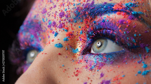 Fotografia, Obraz Explosion of color, bright creative makeup, colorful eyeshadow.