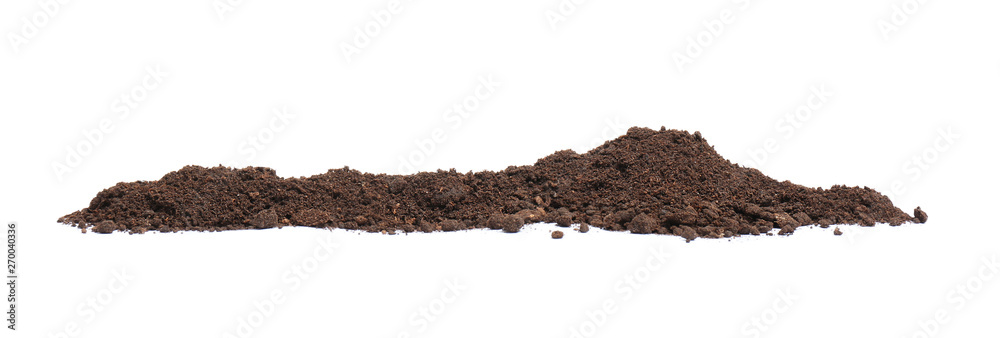 Fototapeta Pile of humus soil isolated on white