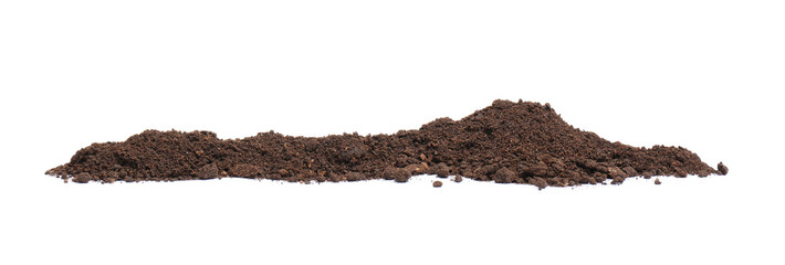 Pile of humus soil isolated on white