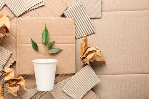 Fotografia Flat lay composition with pieces of cardboard and green branch, space for text