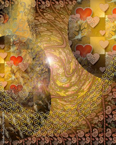 Obrazy Gustav Klimt  background-in-the-style-of-klimt