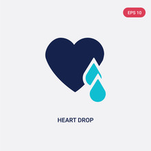 Two Color Heart Drop Vector Icon From Charity Concept. Isolated Blue Heart Drop Vector Sign Symbol Can Be Use For Web, Mobile And Logo. Eps 10