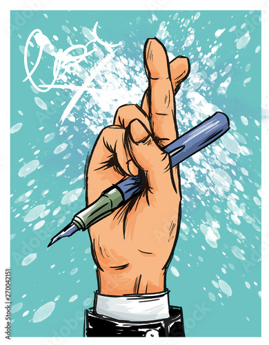 Geschäftsmann vor Unterschrift mit gekreuzten Fingern Canvas Print
