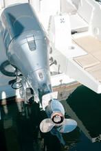 Motor Boat Screw On Sea Water ...