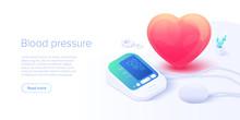 Blood Pressure Concept In Isometric Vector Illustration. Arterial Pressure Measuring Or Checking Machine. Medical Sphygmomanometer Monitor Or Tonometer Diagnostics Background. Web Banner Template.