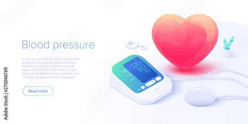 Fotografie, Obraz  Blood pressure concept in isometric vector illustration