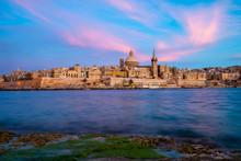 Valletta Skyline At Sunset