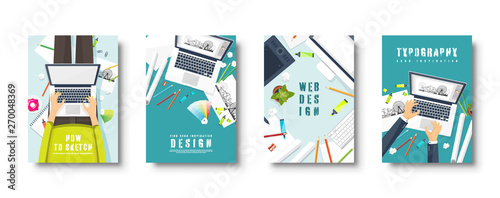 Graphic And Web Design Flat Style Covers Set Designer Workplace With Tools User Interface Design Ui Digital Drawing Online Tutorial Vector Illustration Buy This Stock Vector And Explore Similar Vectors At